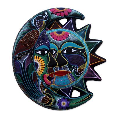 Ceramic wall adornment, 'Eclipse of Dance' - Handmade Sun and Moon Ceramic Wall Art