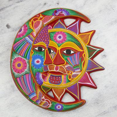 Ceramic wall adornment, 'Blossoming Eclipse' - Handmade Sun and Moon Ceramic Wall Art
