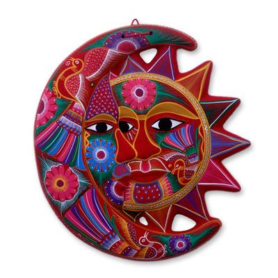 Ceramic wall adornment, 'Blossoming Eclipse' - Handmade Sun and Moon Ceramic Wall Art