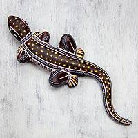Ceramic wall adornment, 'Handsome Lizard' - Handpainted Ceramic Lizard Wall Sculpture Mexico
