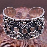 Sterling silver cuff bracelet, 'Angels at Prayer' - Handcrafted Taxco Fine Silver Cuff Bracelet