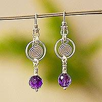Amethyst dangle earrings, 'Popocateptl Shadows' - Amethyst dangle earrings