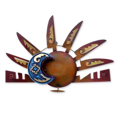 Iron wall candleholder, 'Aztec Eclipse' - Sun and Moon Steel Wall Sconce Candleholder