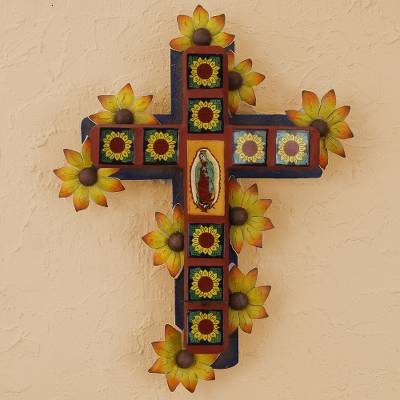 Iron wall candleholder, 'Cross of Guadalupe' - Fair Trade Religious Ceramic Wall Sconce