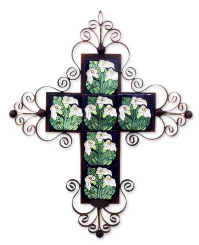 Iron wall candleholder, 'Calla Lily Cross' - Iron wall candleholder