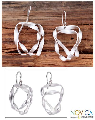 Sterling silver dangle earrings, 'Ribbon Wrap' - Hand Made Modern Sterling Silver Dangle Earrings