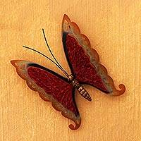 Iron wall sculpture, 'Scarlet Butterfly'