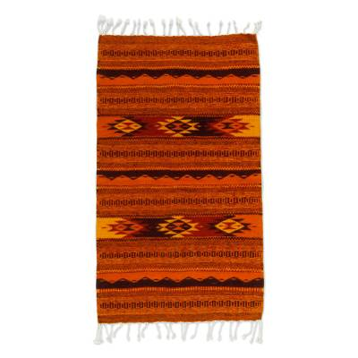 Zapotec wool rug, 'Mexican Meteors' (2x3.5) - Artisan Crafted Mexican Geometric Wool Area Rug (2x3.5)