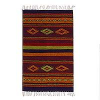 Zapotec wool rug, 'Festival' (2x3.5)