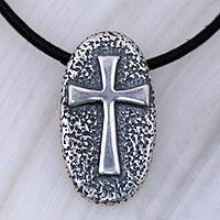 Men's sterling silver cross necklace, 'Crusader' - Men's Handcrafted Cross Sterling Silver Pendant Necklace