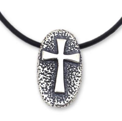 Men's sterling silver cross necklace, 'Crusader' - Men's Handcrafted Cross Sterling Silver Pendant Necklace