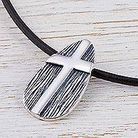 Men's sterling silver cross necklace, 'Tree of Faith'