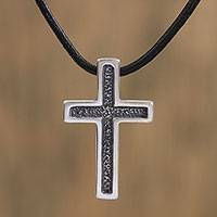 Men's sterling silver cross necklace, 'Latin Cross'