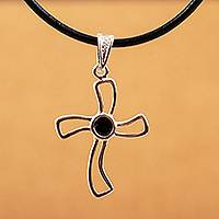 Sterling silver cross necklace, 'Floral Cross' - Religious Cross Sterling Silver Pendant Onyx Necklace