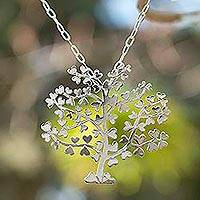 Sterling silver pendant necklace, 'Tree of Love' - Sterling Silver Tree Pendant Necklace