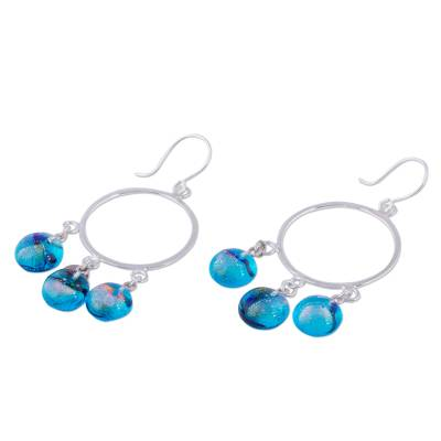 Dichroic art glass earrings