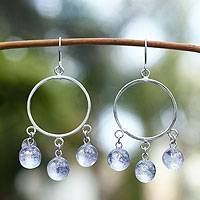 Dichroic art glass earrings, 'Winter Sun' - Unique Mexican Women's Sterling Silver Beaded Earrings