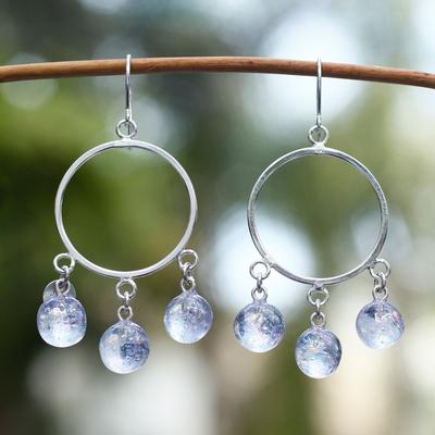 Dichroic art glass earrings, 'Winter Sun' - Unique Mexican Women's Sterling Silver Beaded Earrings