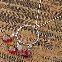 Dichroic art glass pendant necklace 'Summer Sun'