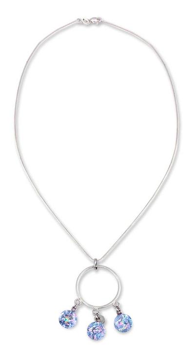 Dichroic art glass pendant necklace