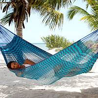 Cotton hammock, 'Riviera Sapphire' (double) - Fair Trade Blue Cotton Striped Rope Hammock (Double)