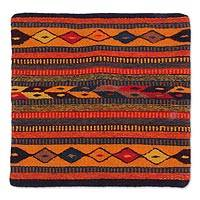 Wool and cotton cushion cover, 'Hills of Fire' - Hand Made Geometric Wool Multicolor Cushion Cover