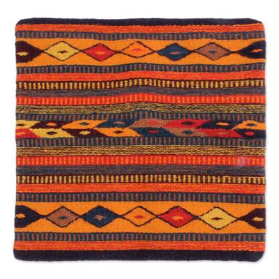 Hand Made Geometric Wool Multicolor Cushion Cover
