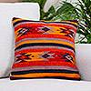 Wool and cotton cushion cover, 'Zapotec Stars'