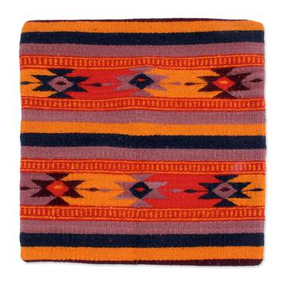 Wool and cotton cushion cover, 'Zapotec Stars' - Geometric Wool Patterned Cushion Cover from Mexico