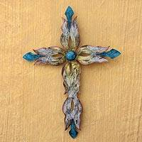 Steel wall art, 'Mission Cross' - Steel Wall Sculpture Metal Art Handmade in Mexico