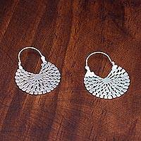 Sterling silver hoop earrings, 'Aztec Magnificence' - Handcrafted Sterling Silver Hoop Earrings
