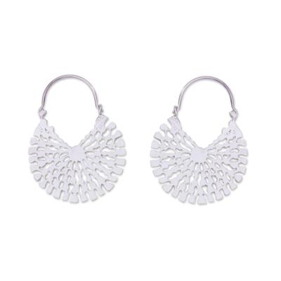Sterling silver hoop earrings, 'Aztec Magnificence' - Handcrafted Sterling Silver Hoop Earrings