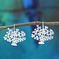 Sterling silver heart earrings, 'Trees of Love'