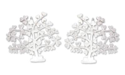 Sterling silver heart earrings, 'Trees of Love' - Sterling silver heart earrings