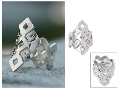 Sterling silver band ring, 'Chiapas Maya' - Hand Crafted Modern Sterling Silver Band Ring