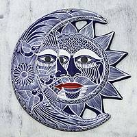 Ceramic wall adornment, 'Romantic Eclipse' - Ceramic wall adornment