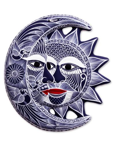 Ceramic wall adornment, 'Romantic Eclipse' - Ceramic wall adornment