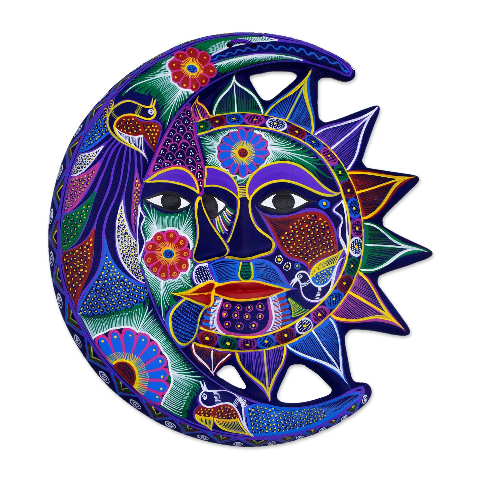 Hand painted sun and moon ceramic wall art fantastical eclipse hand painted sun and moon ceramic wall art fantastical eclipse novica amipublicfo Images