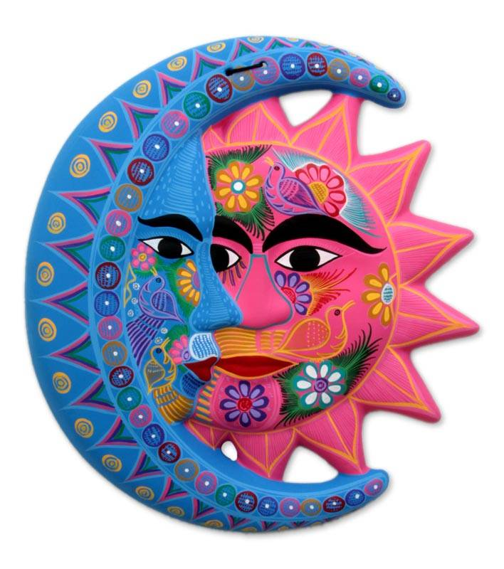 Sun And Moon Wall Art fair trade sun and moon ceramic wall art - nature's eclipse | novica