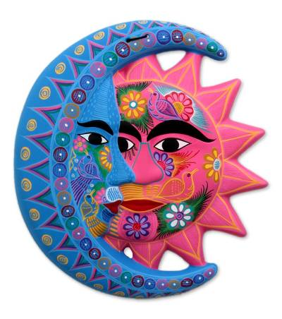 Ceramic Wall Adornment, U0027Natureu0027s Eclipseu0027   Fair Trade Sun And Moon Ceramic  Wall