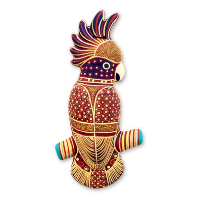 Ceramic wall adornment, 'Batik Cockatoo' - Mexico Handpainted Ceramic Bird Placque