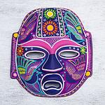 Handmade Mexican Folk Art Ceramic Wall Mask , 'Carnival Olmeca'