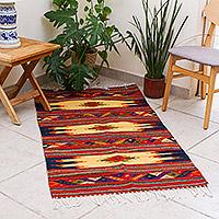 Zapotec wool rug, 'Windows of Light' (2.5x5) - Handmade Mexican Zapotec Area Rug (2.5x5)