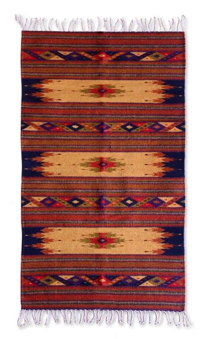 Handmade Mexican Zapotec Area Rug 2 5x5 Windows Of