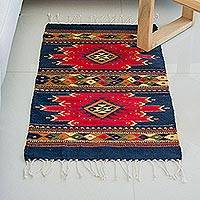 Zapotec wool rug, 'Spirit of the Scarlet Sun' (2x3.5) - Handmade Mexican Zapotec Wool Area Rug (2x3.5)