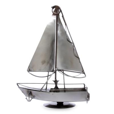 Recycled metal sculpture, 'Rustic Sailboat' - Recycled Metal Sculpture Artisan Crafted Mexican Art