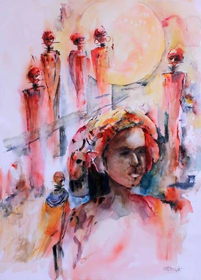 'Rites' - Mexico Expressionist Portrait Painting