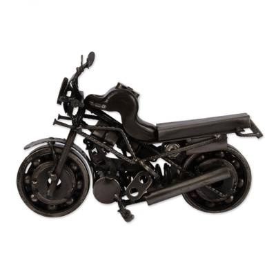 Auto part statuette, 'Rustic Monster Motorbike' - Motorcycle Metal Recycled Sculpture from Mexico