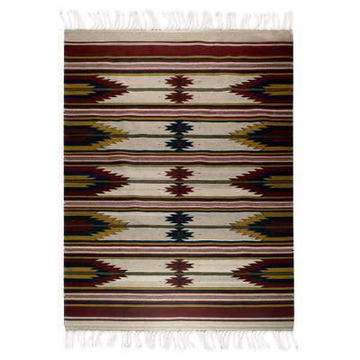 Zapotec wool rug, 'Wine' (6x9.5) - Geometric Wool Area Rug (6x9.5)