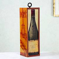 Decoupage bottle holder box, 'Cheese and Wine' - Decoupage bottle holder box